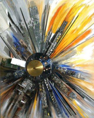 Moderne Kunst, Sonne aus Computerteilen, Ilona Jentsch in der Freidenker Galerie
