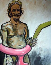 Merkel und die Steuerzahler, moderne Kunst, Porträts von Nikolaus Pessler, Freidenker Galerie
