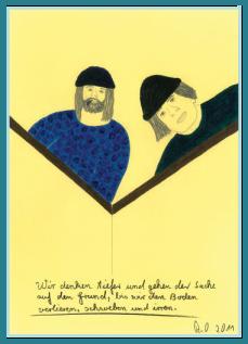 Tiefer denken und irren, Acrylbild von Rainer Ostendorf, Humor und Satire, Bilder mit Sprüchen