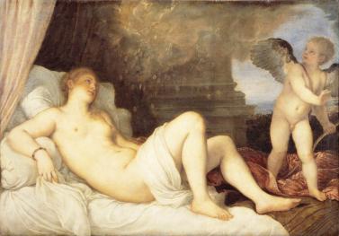 Männer in Frauenkleidern, Tizian: Neapolitanische Danae. Zeus schwängert die Schöne als ein Goldregen.