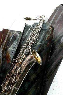 Saxophon, Wandskulptur von Ilona Jentsch