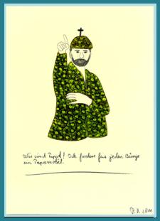 Wir sind Papst! Acrylbild von Rainer Ostendorf, Atheismus, Religionskritik, Freidenker Galerie