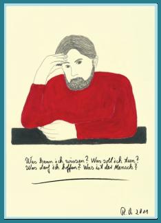 Bild zum Tag der Philosophie, Was ist Wahrheit? Was kann ich wissen? Acrylbild von Rainer Ostendorf, Freidenker Galerie