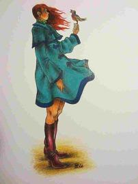 Herbstmädchen, Zeichnung von Sebastian Misseling, Freidenker Galerie