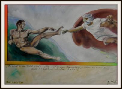 Wie das Lachen entstand, Ölbild von Peter Zahrt, Freidenker Galerie