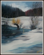 Kalter Wintertag, Ölbild von Peter Zahrt, Freidenker Galerie