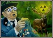 Mensch und Natur, Karikatur Bilder von Peter Zahrt