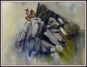 Der Denker, Ölbild von Peter Zahrt, Freidenker Galerie