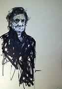 Johnny Cash Portrait von Nikolaus Pessler, Freidenker Galerie